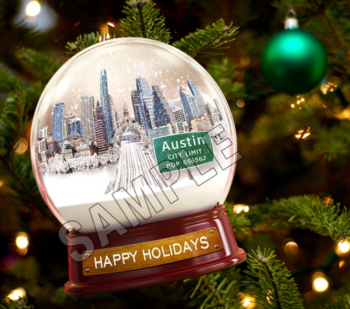 Austin | Metal Snow Globe Ornament