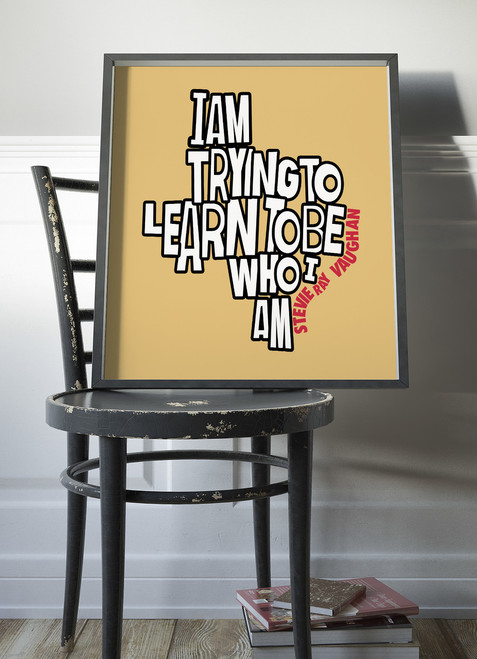 Stevie Ray Vaughan | Texas Shaped Quote Print