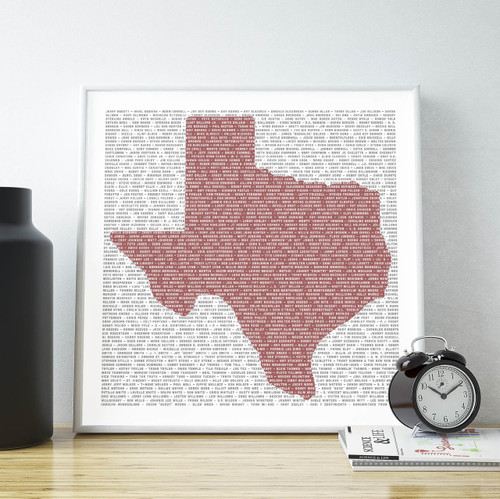 Texas Songwriters | Texas Shaped Print