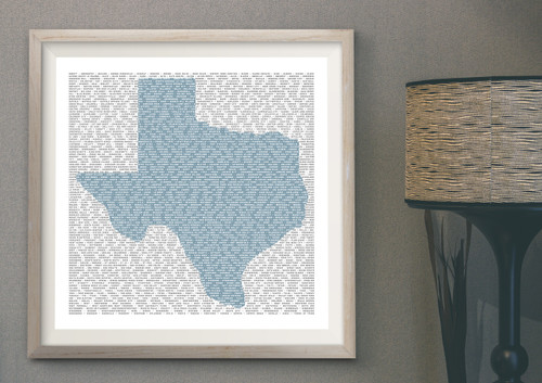 Texas Towns | Texas Shaped Print