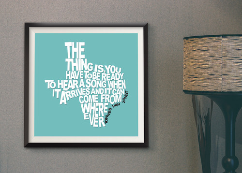 Townes Van Zandt Quote | Texas Shaped Quote Print