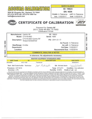 Example Calibration Certificate Centric RF