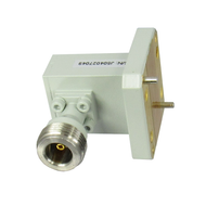 CWRD650N Double Ridge Waveguide to Coax Adapter.  WR650 to Type N 6.5-18Ghz VSWR 1.25 max. Centric RF