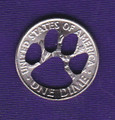 Popular Paw Design Dime Cut Out, Pendant or KeyRing