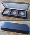 Black Leatherette Box For 3 Coins