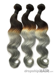 Ombre 1BT Silver / Grey Hair Weft in 3-Tone Color