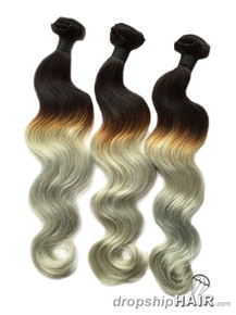SAMPLE 1 - Ombre 1BT-Grey Hair Weft in 3-Tone Color
