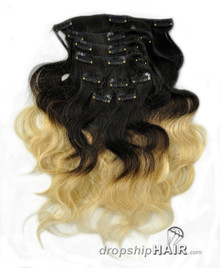 Ombre 1B/613 - Clip-in 7pc Double Drawn 120g