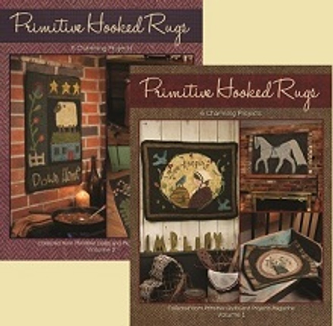 Primitive Hooked Rugs Bundle, Vol 1 and Vol 2