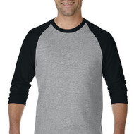 5700 GILDAN HEAVY COTTON ADULT 3/4 RAGLAN TEE  (Sport Grey/Black)