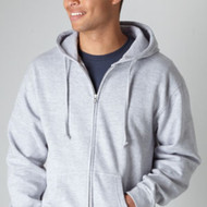 331 Tultex Unisex Full-Zip Hooded Sweatshirt  (Heather Grey)
