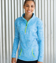 8617 J America Ladies' Cosmic Quarter-Zip Fleece Sweatshirt  (Electric Blue/Neon Green)