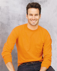 2410 GILDAN ULTRA COTTON ADULT LONG SLEEVE TEE WITH POCKET