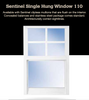 A single hung window is a traditional style sash operable window that opens without using any interior or exterior space. Combine this style with impact hurricane resistant technology and you have a perfect choice for most living areas in your home. This image is shown with optional muntin grids in the upper sash.