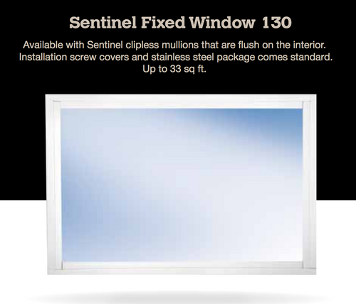 Sentinel Fixed/Picture Window 130 The Sentinel Rectangular Fixed impact window is available in sizes up to 33 square feet and offers a narrow frame design allowing you to maximize your available glass area.  The fastener covers finish off this product choice nicely making this a very clean looking window for any  room in your home.