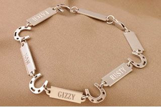 Sterling Silver Horseshoe and Nameplate Bracelet