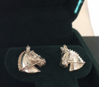 Sterling Silver Hunter Jumper Event Horse Earrings