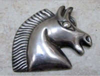 Antique Sterling Silver Horse Head Pin