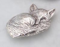 Sterling Silver Sleeping Fox Pin