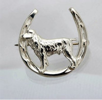 Sterling Silver Spaniel in Horseshoe Pin