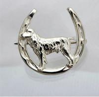 Sterling Silver Spaniel in Horseshoe Pin