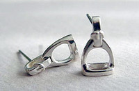 Sterling Silver Stirrup with Leathers Stud Earrings