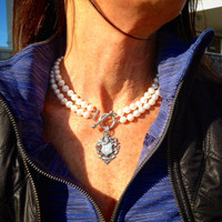 2-Strand White Pearl Neckpiece with Antique Fob
