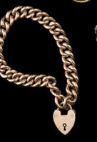 Victorian 9ct Gold Curb Link Padlock Bracelet c.1897