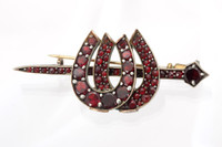 Victorian Bohemian Garnet Double Horseshoe Stock Pin