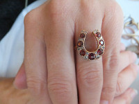 Antique Victorian Garnet and Diamond Horseshoe Ring  Size 6-1/2