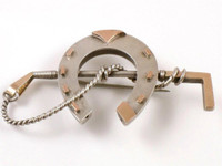 Victorian Silver and Gold Horseshoe and Whip Pin Brooch