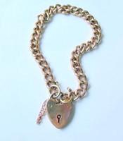 Victorian Solid 9k Rose Gold Curb Link Bracelet
