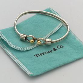 Vintage 14k Gold and Sterling Silver signed Tiffany Bangle Bracelet.