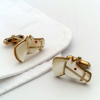 Vintage Mother of Pearl Horse Head Cufflinks