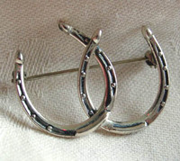 Antique Sterling Silver Double Horseshoe Pin
