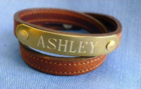Wrap Around Leather Nameplate Bracelet