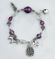 "Sterling Silver and Crystals ""Year of the Horse"" Charm Braclet"