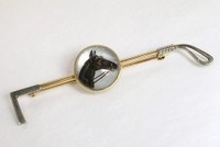 Antique 14k Gold Black Horse with Blaze Reverse Crystal Stock Pin