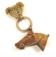 Victorian Tiger's Eye or Jasper Horse Head Brooch Pin