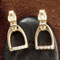 14k Gold Smaller Stirrup Earrings with Moveable Leathers
