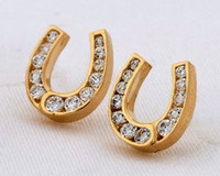 14k Yellow or White Gold Horseshoe Earrings with Diamonds