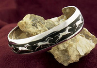 Sterling Silver Estate Running Horses Bangle Bracelet