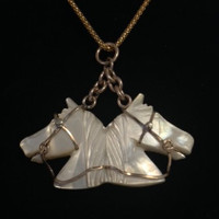 Antique Mother of Pearl Horses Watch Fob Now As A  Pendant Necklace