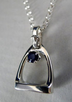 KD Sterling Silver Stirrup with Sapphire Pendant Necklace