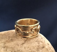 14k Gold Three Snaffle Bits Ring with Diamonds