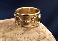 SALE-SIZE 5-1/2 ONLY-14k Gold Three Snaffle Bits Ring with Diamonds