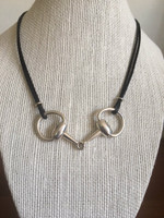 Sterling Silver Large Snaffle Bit on a Black Leather Cord Neckpiece