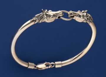 Sterling Silver Horse Head Semi-Bangle Bracelet