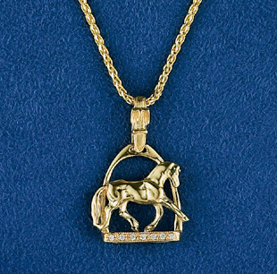 14k Gold Dressage Horse in Stirrup Pendant with Diamonds