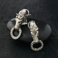 14k White Gold Omega Clip Horsehead EARRINGS.